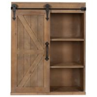 Kate And Laurel Storage Cabinet with Sliding Barn Door in Rustic Brown