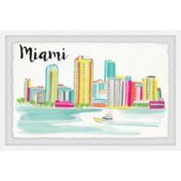 Marmont Hill Miami Skyline 24-Inch x 16-Inch Framed Wall Art