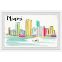 Marmont Hill Miami Skyline 30-Inch x 20-Inch Framed Wall Art
