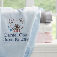 Teddy Bear Embroidered Baby Blanket