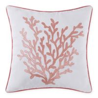 Oceanfront Resort Cove 18-Inch Square Throw Pillow in White/Coral