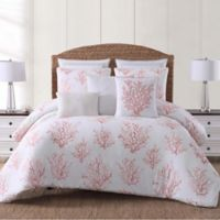 Oceanfront Resort Cove King Comforter Set in White/Coral
