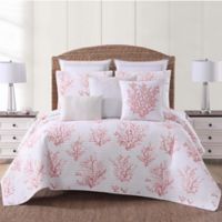 Oceanfront Resort Cove Full/Queen Quilt Set in White/Coral