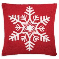 Snowflake Square Throw Pillow in Red/White