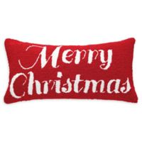 Merry Christmas Oblong Throw Pillow in Red/White