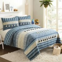 Jax Horizontal Channel Twin Quilt in Blue