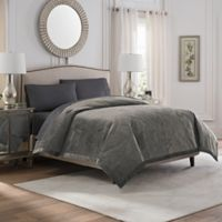 Valeron Caruso Velvet King Coverlet in Charcoal