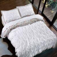 Pin Tuck Floral Reversible Full/Queen Duvet Cover Set in White