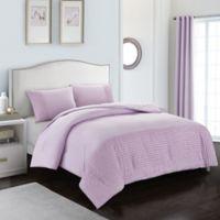 American Kids Tufted Stripe 3-Piece Full Comforter Set in Purple