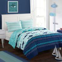 American Kids Sea Shark 3-Piece Full Comforter Set in Teal