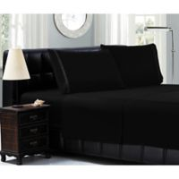 Elegant Comfort™ Chain Embroidered Microfiber California King Sheet Set in Black