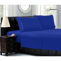 Elegant Comfort™ Chain Embroidered Microfiber California King Sheet Set in Royal Blue