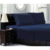 Elegant Comfort™ Chain Embroidered Microfiber California King Sheet Set in Navy