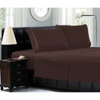 Elegant Comfort™ Chain Embroidered Microfiber California King Sheet Set in Chocolate