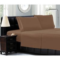 Elegant Comfort™ Chain Embroidered Microfiber California King Sheet Set in Taupe