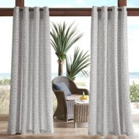 Madison Park Aptos Printed Fret 3M Scotchgard 84-Inch Grommet Top Outdoor Curtain Panel in Grey
