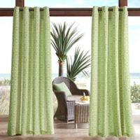 Madison Park Aptos Printed Fret 3M Scotchgard 95-Inch Grommet Top Outdoor Curtain Panel in Green