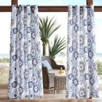 Madison Park Laguna Medallion 3M Scotchgard 95-Inch Grommet Top Outdoor Curtain Panel in Indigo/Blue