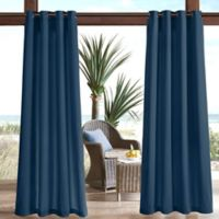 Madison Park Pacifica Solid 3M Scotchgard 84-Inch Grommet Top Outdoor Curtain Panel in Navy
