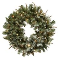 Nearly Natural 30-Inch Pre-Lit Frosted Pine Wreath