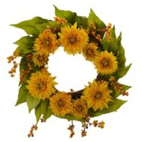 Nearly Natural 22-Inch Artificial Golden Sunflower Wreath