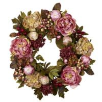 Nearly Natural 24-Inch Artificial Peony & Hydrangea Wreath
