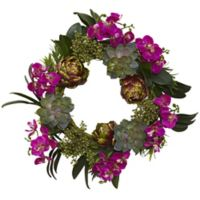 Nearly Natural 20-Inch Artificial Orchid, Artichoke & Succulent Wreath
