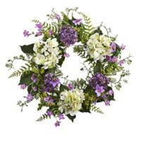 Nearly Natural 24-Inch Artificial Hydrangea & Berry Wreath