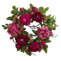 Nearly Natural™ 20-Inch Peony and Berry Wreath