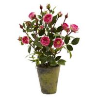 Nearly Natural 14-Inch French Rose Garden with Planter