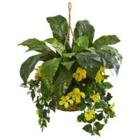 Nearly Natural Artificial Birds Nest & Hibiscus Hanging Plant in Basket