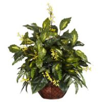 Nearly Natural 27-Inch Forsythia and Mixed Greens Arrangement with Planter