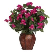 Nearly Natural 24.5-Inch Artificial Bougainvillea Arrangement in Vase