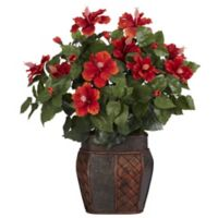 Nearly Natural 24-Inch Artificial Hibiscus Arrangement in Vase