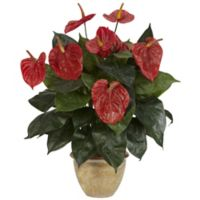Nearly Natural 22.5-Inch Artificial Anthurium Arrangement in Vase