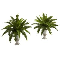 Nearly Natural™ 20-Inch Boston Fern in White Urn (Set of 2)
