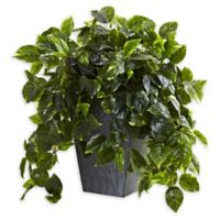Nearly Natural 29-Inch Hanging Pothos with Slate Planter