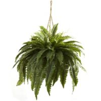 Nearly Natural Artificial Double Giant Boston Fern Hanging Plant in Basket