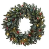 Nearly Natural 30-Inch 50-Light LED Holiday Wreath