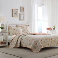 Laura Ashley® Weekly Getaway Reversible Full/Queen Quilt Set in Coral