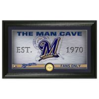 "MLB Milwaukee Brewers Framed ""Man Cave"" Bronze Coin Wall Art"