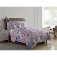 VCNY Home Azure 4-Piece Twin XL Reversible Quilt Set in Pink