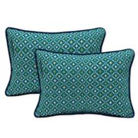 Arden Selections Tile Oblong Lumbar Throw Pillows in Blue (Set of 2)