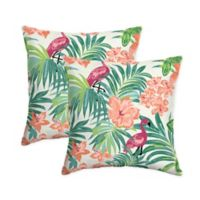 Selections By Arden Luau Flamingo Square Pillows in Cream (Set of 2)
