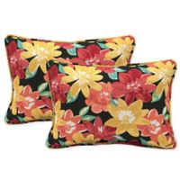 Arden Selections™ Ruby Abella Floral Oblong Lumbar Throw Pillows in Black (Set of 2)