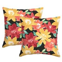 Arden Selections™ Ruby Abella Floral Floral Square Throw Pillow in Black (Set of 2)