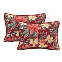 Arden Selections Clarissa Tropical Lumbar Throw Pillows in Ruby (Set of 2)