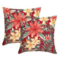 Selections by Arden Clarissa Tropical Square Throw Pillows in Ruby (Set of 2)
