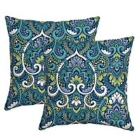 Arden Selections™Aurora Damask Square Throw Pillows in Blue (Set of 2)