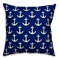 Designs Direct Anchor Square Outdoor Throw Pillow in Navy/White
